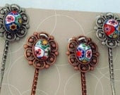 Bobby Pins/Hair pins -Antique look copper and pewter colors/VINTAGE Murano Millefiori Cabochons