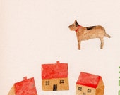 Small village big dog - Watercolor painted Paper Collage - Original