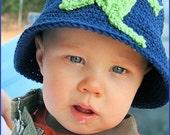 Boys Frog Crochet Bucket style Hat Boutique Custom