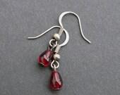 Vampire Earrings - Little Drops of Blood - Twilight inspired garnet red glass drops Halloween