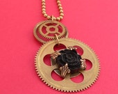 Steampunk Pendant Necklace - Ebony Rose - A Dark Rose set on vintage brass cogs