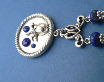 Cthulhu Necklace - Cthulhu and the Deep Blue Sea - lapis lazuli silver ox pendant