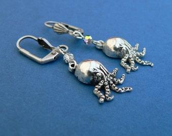 Cthulhu Earrings - Nickel Free Leverbacks octopus cephalopod charms