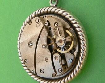Steampunk Pendant Industrial Steampunk Silver tone Pendant Necklace