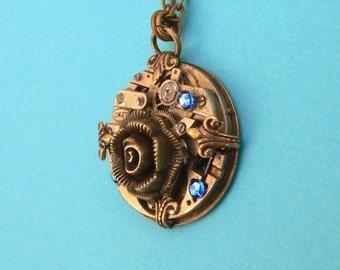 Steampunk Necklace - Vintage Rose Steampunk Pendant Brass