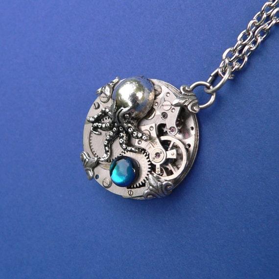 Steampunk Pendant - Cthulhu and the Deep Blue Sea - paua shell