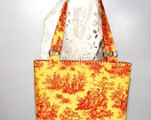 Cardinal and Gold Toile Handbag by Sommer Designs ON SALE