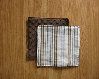 Brown striped burp cloth set