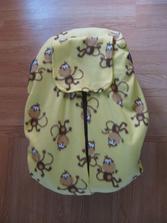 Yellow Monkey Fleece Infant Car Seat Cover