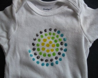 hand-painted onesie with abstract spiral design, size 6-9 mo.