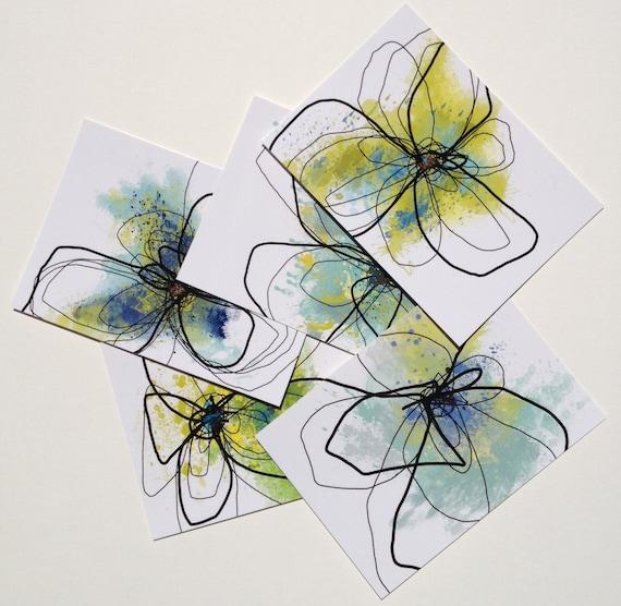 Mini Print set / Postcards - Watercolor Florals