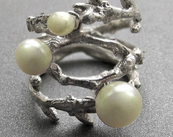 Branch Ring (double)-White Pearls