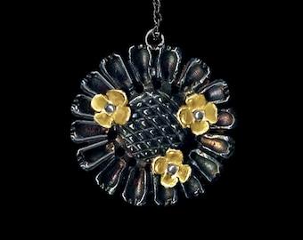 Zinnia pendant with tiny gold flowers-Medium