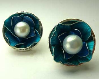 Pillbox Earrings- Blue Blossom