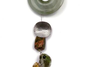 Bell-Cluster-Jingle Lariat Necklace (Green Enamel)
