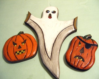 Large Ghost and 2 jack o lanterns, hand carved wood