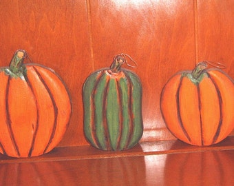 Set of 3, 2 Fall pumpkins and a Squash hand wood carved