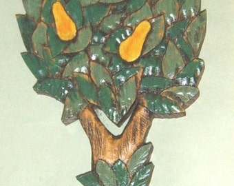 Partridge In A Pear Tree, Wood Carving