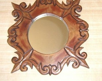 Mirror, hand carved wood Compass style, One of a kind