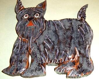 Schnauser Doggie, Hand wood carved plaque