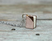 Pale Pink and Brown from Early 1900s Leather Wallet - small book necklace on silver
