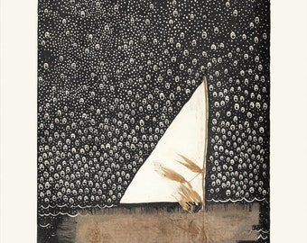 Nightwanderer Drawing, Collage, Ghosts, Sail Boat, Home Decor, Drawing, Art Print, Art, Wall Art, Photography, For Home, Wall Decor, Collage