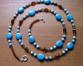 Amazonite, Cathedral Beads and Czech Glass Necklace