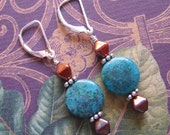 Copper Chrysocolla Earrings with Bronze Glass Bicone Beads