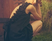 Coco Black Silk Chiffon and Lace Backless Dress. Little Black Dress (LBD). Made to Order.