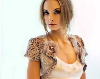 Accent Color Custom Vintage Lace Shrug  - Seen in Style me Pretty and Martha Stewart Weddings. Custom Made To Order.