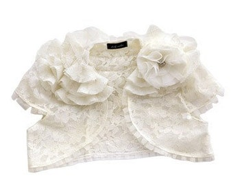 Lily Ivory Corded Lace Ruffle Shrug as seen in Martha Stewart Wedding Magazine Custom Made to Order
