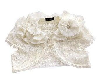Lily Ivory Corded Lace Ruffle Shrug as seen in Martha Stewart Wedding Magazine Custom Made to Order