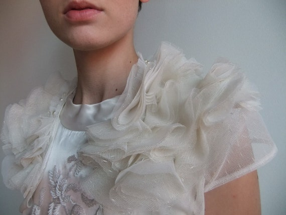 Ivory Tulle and Pearl Bridal Wedding Shrug. Made to Order.