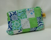 Cosmetic Bag Purse Pouch Patchwork: Green and Blue