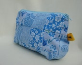 Cosmetic Bag Purse Pouch Patchwork: Lighter Shades of Blue