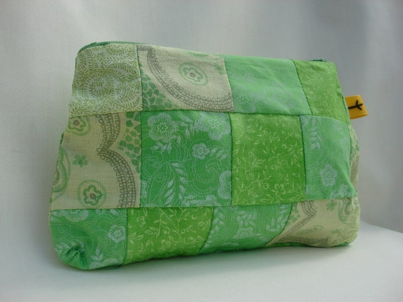 Cosmetic Bag Purse Pouch Patchwork: If It's Green it Goes (Bright Beautiful Greens)
