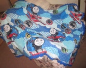 Thomas the Tank Fleece Blanket with Crochet Edging