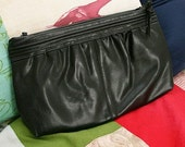 Simple Black 80s Leather Clutch