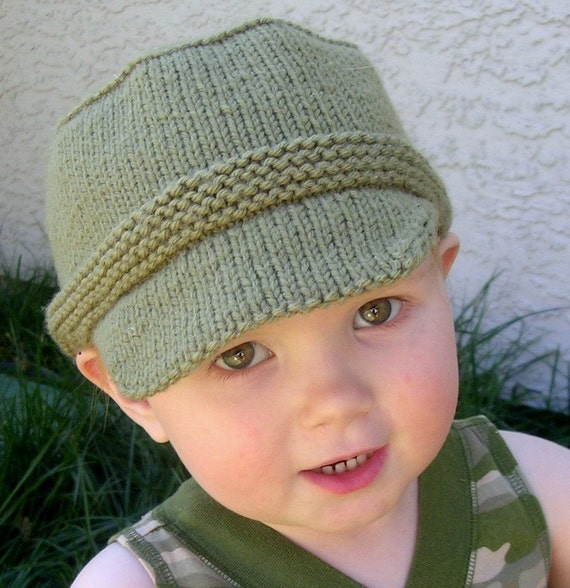 Knitting Pattern For Soldiers Hats : Kiddie Cadet Military Style Childs Hat Knitting Pattern