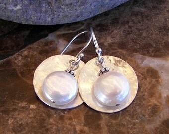 Full Moon Pearl and Sterling Earrings