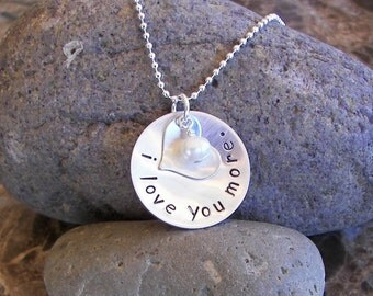 I love you more... Personalized Sterling Silver Necklace for Mother, Daughter, Grandmother