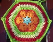 Crochet Potholder Trivet African Flower