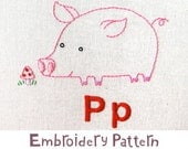 P Pig INSTANT DOWNLOAD PDF embroidery pattern