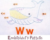 W Whale INSTANT DOWNLOAD PDF embroidery pattern