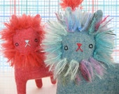 Lion Kitty no.113 blue with multicolor mohair mane