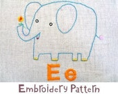 E Elephant INSTANT DOWNLOAD PDF embroidery pattern