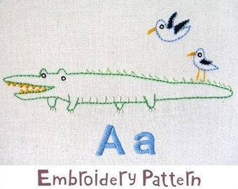 A Alligator and Albatross INSTANT DOWNLOAD PDF embroidery pattern