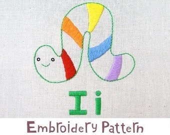i Inchworm INSTANT DOWNLOAD PDF embroidery pattern