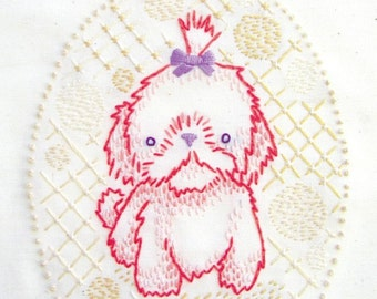 Maltese puppy INSTANT DOWNLOAD PDF embroidery pattern