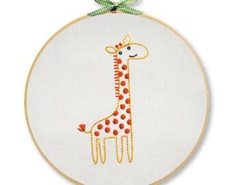 KIT embroidery giraffe wall art